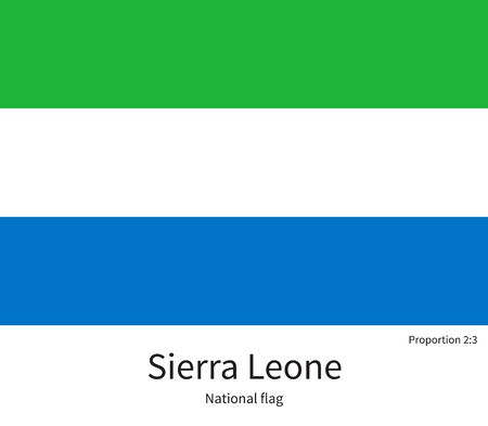 documentation: National flag of Sierra Leone with correct proportions, element, colors for education books and official documentation Illustration