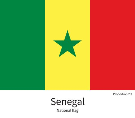 dakar: National flag of Senegal with correct proportions, element, colors for education books and official documentation