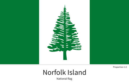 kingston: National flag of Norfolk Island with correct proportions, element, colors for education books and official documentation