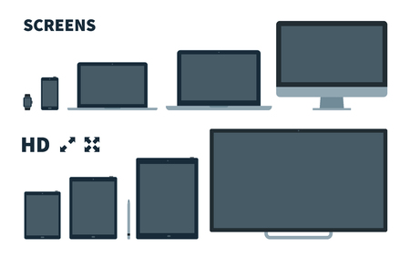 flat screen tv: Flat TV screen, phone, monitor, laptop, tablet and watch with Full screen icons on white background