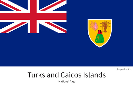 the turks: National flag of Turks and Caicos Islands with correct proportions, element, colors for education books and official documentation Illustration