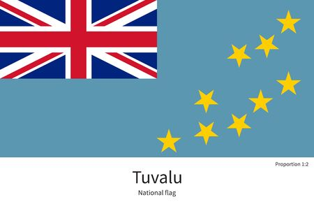 documentation: National flag of Tuvalu with correct proportions, element, colors for education books and official documentation