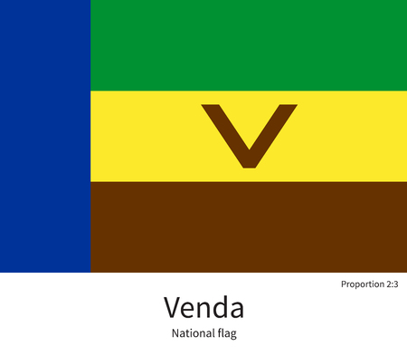 National flag of Venda with correct proportions, element, colors for education books and official documentation