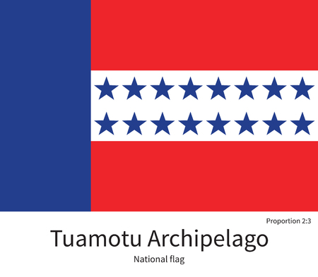 archipelago: National flag of Tuamotu Archipelago with correct proportions, element, colors for education books and official documentation Illustration