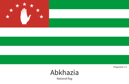 sukhumi: National flag of Abkhazia with correct proportions, element, colors for education books and official documentation Illustration