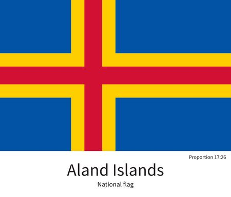 citizenship: National flag of Aland Islands with correct proportions, element, colors for education books and official documentation Illustration