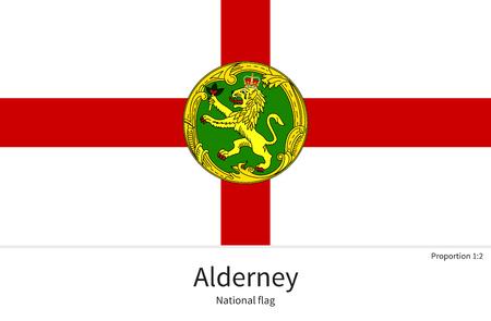 オルダニーの正しい比率、要素、教育本や公式文書の色の国旗  イラスト・ベクター素材