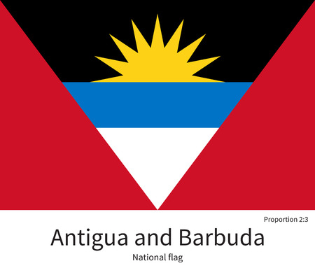 antigua: National flag of Antigua and Barbuda with correct proportions, element, colors for education books and official documentation