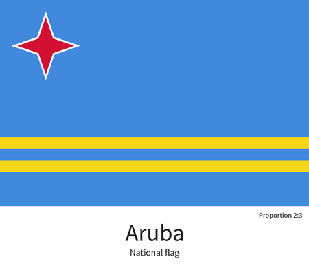 aruba flag: National flag of Aruba with correct proportions, element, colors for education books and official documentation Illustration