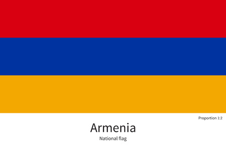 western asia: National flag of Armenia with correct proportions, element, colors for education books and official documentation, Armenia, Yerevan, Transcaucasia, Europe, Western Asia