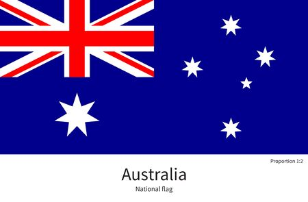 documentation: National flag of Australia with correct proportions, element, colors for education books and official documentation