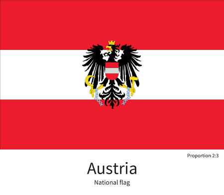documentation: National flag of Austria with correct proportions, element, colors for education books and official documentation