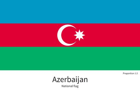 western asia: National flag of Azerbaijan with correct proportions, element, colors for education books and official documentation