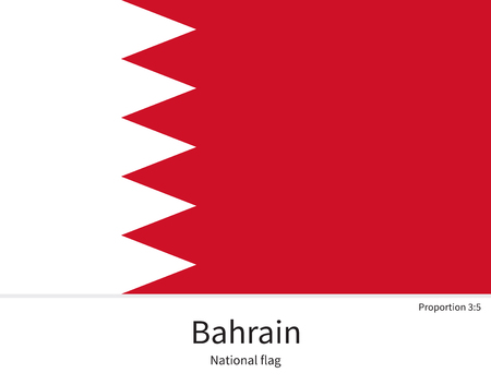 western asia: National flag of Bahrain with correct proportions, element, colors for education books and official documentation