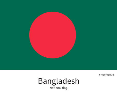 bangladesh: National flag of Bangladesh with correct proportions, element, colors for education books and official documentation Illustration