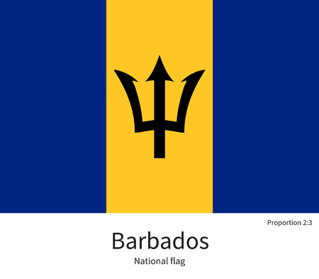 citizenship: National flag of Barbados with correct proportions, element, colors for education books and official documentation