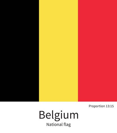 benelux: National flag of Belgium with correct proportions, element, colors for education books and official documentation