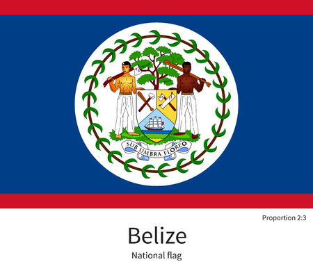 tourism in belize: National flag of Belize with correct proportions, element, colors for education books and official documentation