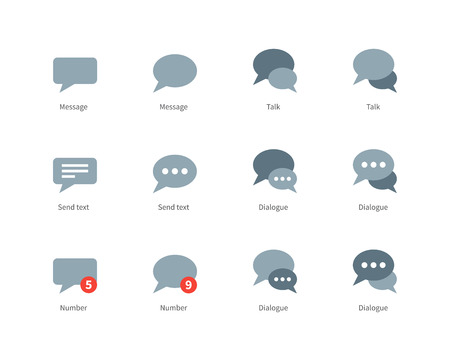 microblog: Talks and dialog bubble vector icons set. Icons for social networks, speech bubbles, dialogue, text, messages. Flat color icons set. Isolated on white background Illustration