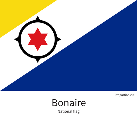 bonaire: National flag of Bonaire with correct proportions, element, colors for education books and official documentation