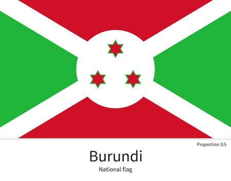 bujumbura: National flag of Burundi with correct proportions, element, colors for education books and official documentation