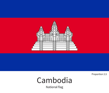 citizenship: National flag of Cambodia with correct proportions, element, colors for education books and official documentation