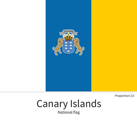 documentation: National flag of Canary Islands with correct proportions, element, colors for education books and official documentation Illustration