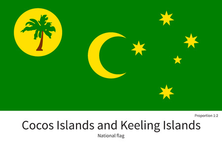 National flag of Cocos Islands and Keeling Islands with correct proportions, element, colors for education books and official documentation Illustration