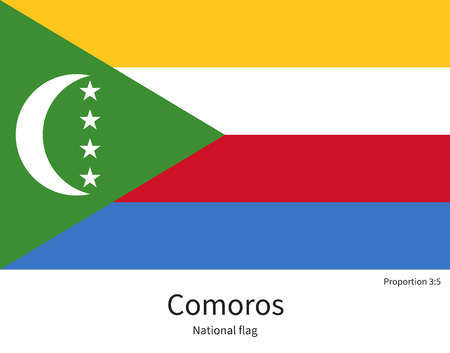documentation: National flag of Comoros with correct proportions, element, colors for education books and official documentation