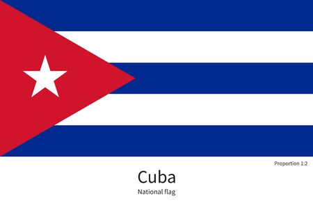 havana cuba: National flag of Cuba with correct proportions, element, colors for education books and official documentation Illustration
