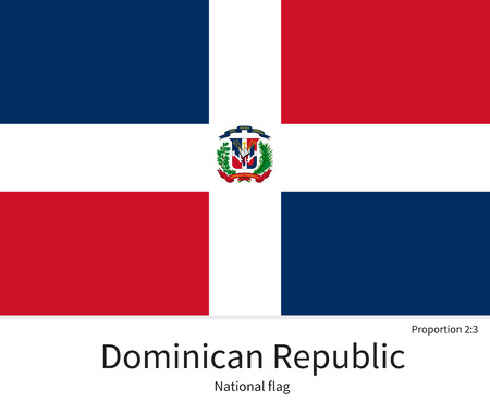 dominican republic: National flag of Dominican Republic with correct proportions, element, colors for education books and official documentation