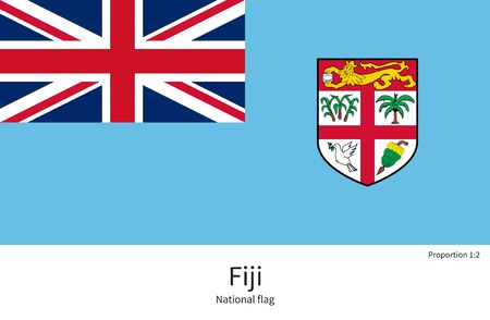 documentation: National flag of Fiji with correct proportions, element, colors for education books and official documentation Illustration