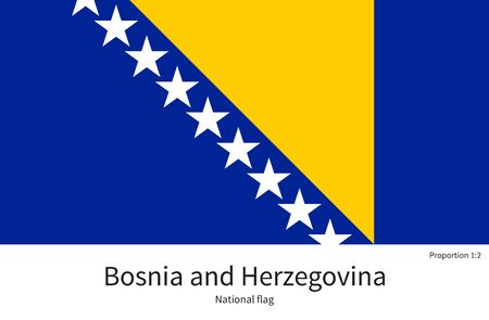 documentation: National flag of Bosnia and Herzegovina with correct proportions, element, colors for education books and official documentation Illustration
