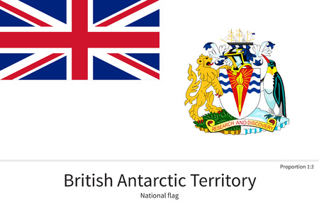 antarctic: National flag of British Antarctic Territory with correct proportions, element, colors for education books and official documentation Illustration