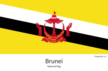 documentation: National flag of Brunei with correct proportions, element, colors for education books and official documentation Illustration
