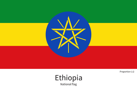 documentation: National flag of Ethiopia with correct proportions, element, colors for education books and official documentation Illustration