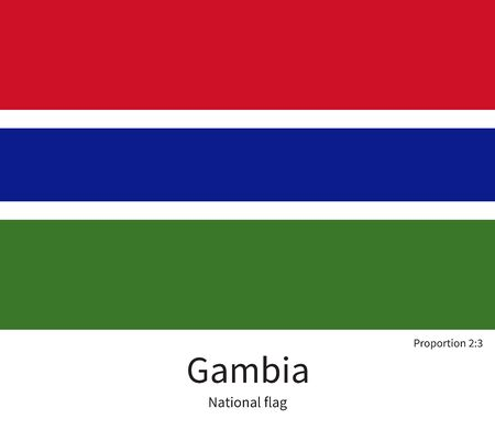 National flag of Gambia with correct proportions, element, colors for education books and official documentation