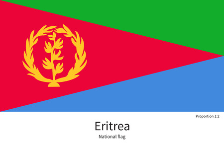 citizenship: National flag of Eritrea with correct proportions, element, colors for education books and official documentation Illustration