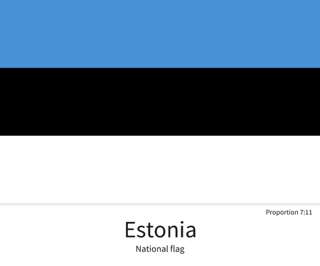 citizenship: National flag of Estonia with correct proportions, element, colors for education books and official documentation
