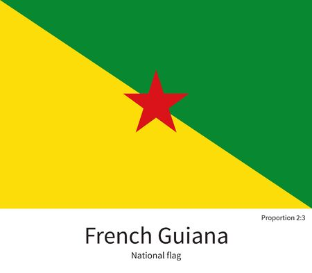 guiana: National flag of French Guiana with correct proportions, element, colors for education books and official documentation Illustration