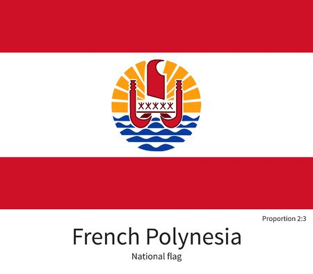 documentation: National flag of French Polynesia with correct proportions, element, colors for education books and official documentation