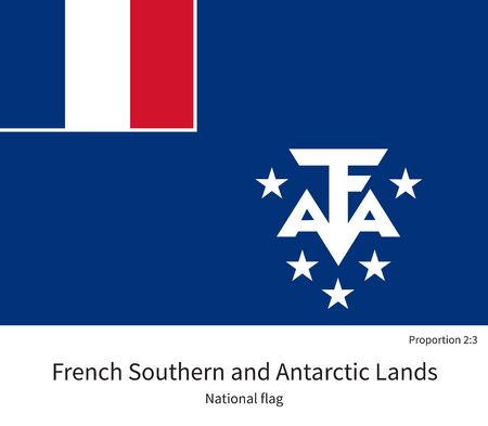 antarctic: National flag of French Southern and Antarctic Lands with correct proportions, element, colors for education books and official documentation