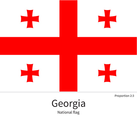 documentation: National flag of Georgia with correct proportions, element, colors for education books and official documentation