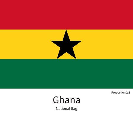 documentation: National flag of Ghana with correct proportions, element, colors for education books and official documentation Illustration