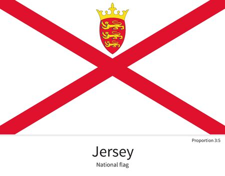 National flag of Jersey with correct proportions, element, colors for education books and official documentation