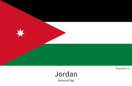citizenship: National flag of Jordan with correct proportions, element, colors for education books and official documentation