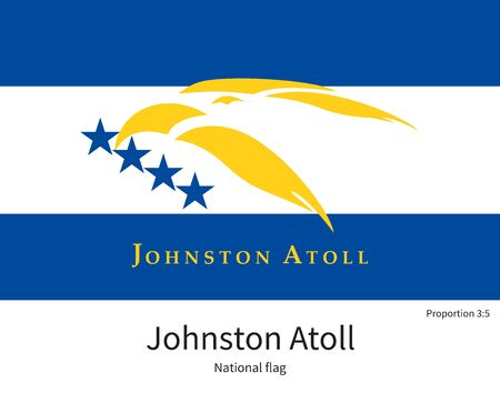 atoll: National flag of Johnston Atoll with correct proportions, element, colors for education books and official documentation