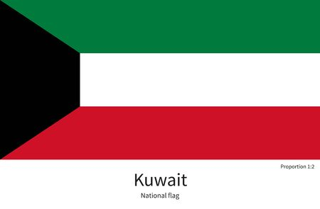 documentation: National flag of Kuwait with correct proportions, element, colors for education books and official documentation