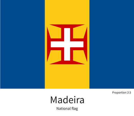 madeira: National flag of Madeira with correct proportions, element, colors for education books and official documentation Illustration