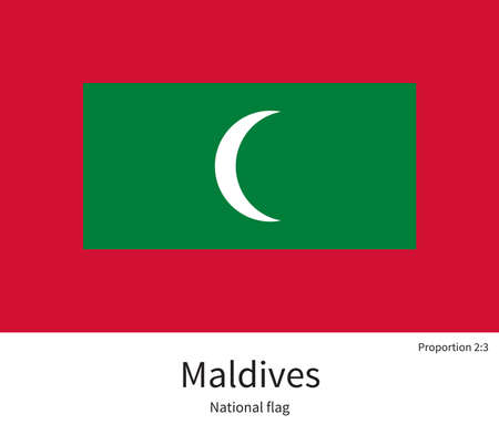 National flag of Maldives with correct proportions, element, colors for education books and official documentation